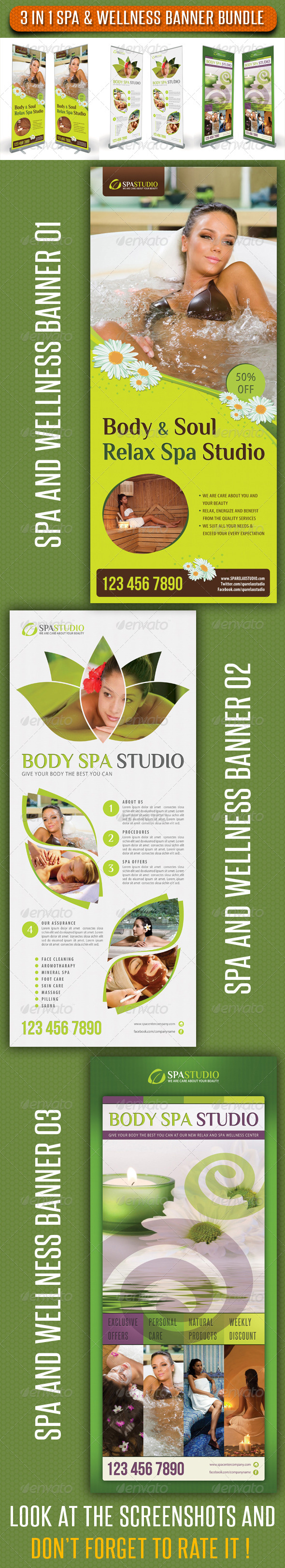 3 in 1 Spa Wellness Banner Bundle 02 - Signage Print Templates