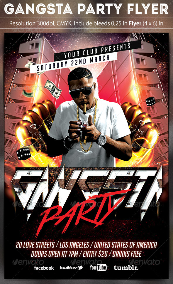 Gangsta Party Flyer - Clubs & Parties Events