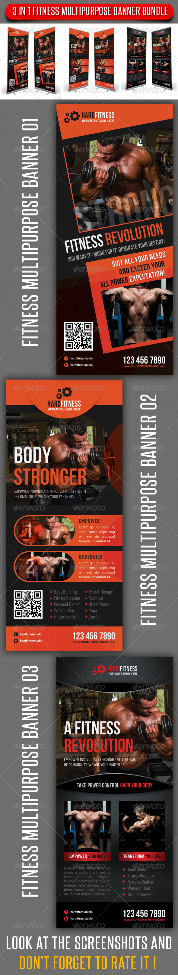 3 in 1 Fitness Multipurpose Banner Bundle 02 - Signage Print Templates