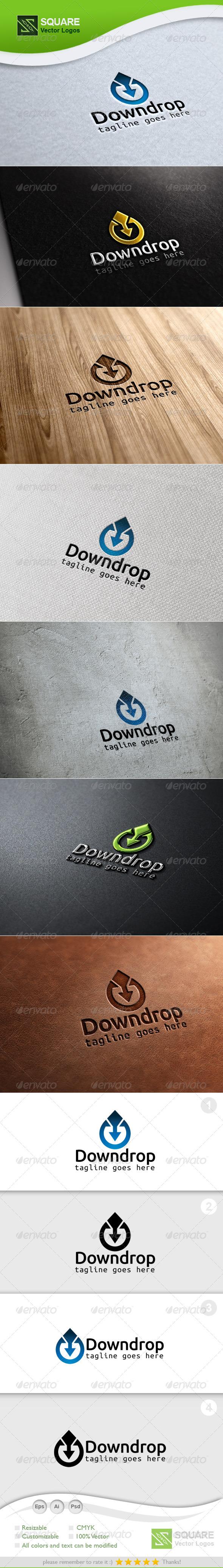 Drop Down Arrow Vector Logo Template - Nature Logo Templates
