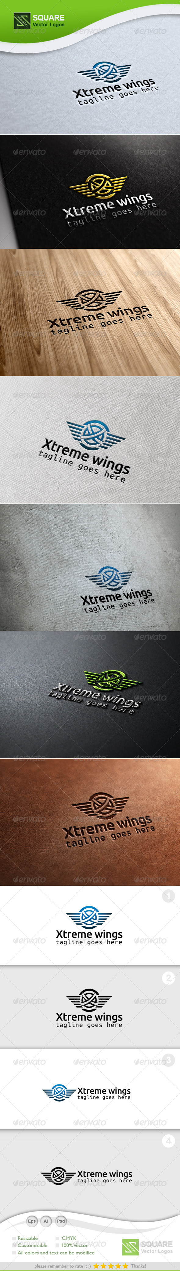 X, Wings Vector Logo Template - Letters Logo Templates