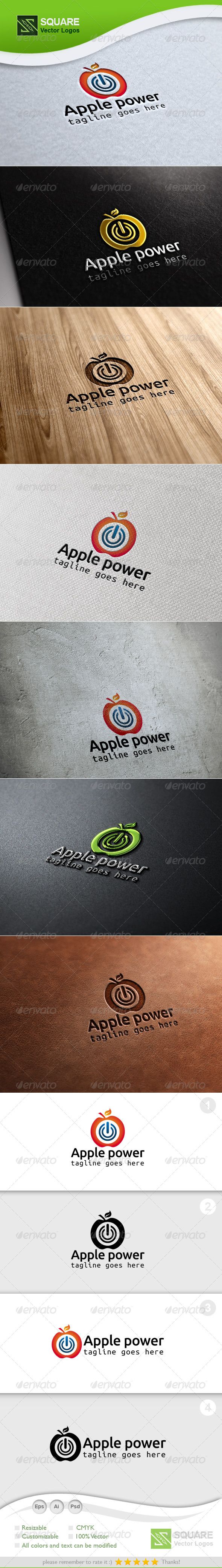 Apple, Power Vector Logo Template - Food Logo Templates