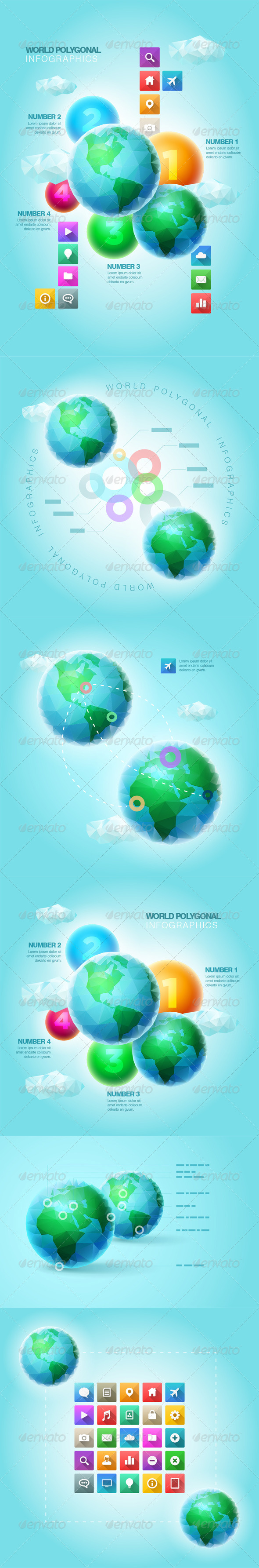 Polygonal World Infographic Template Set - Infographics