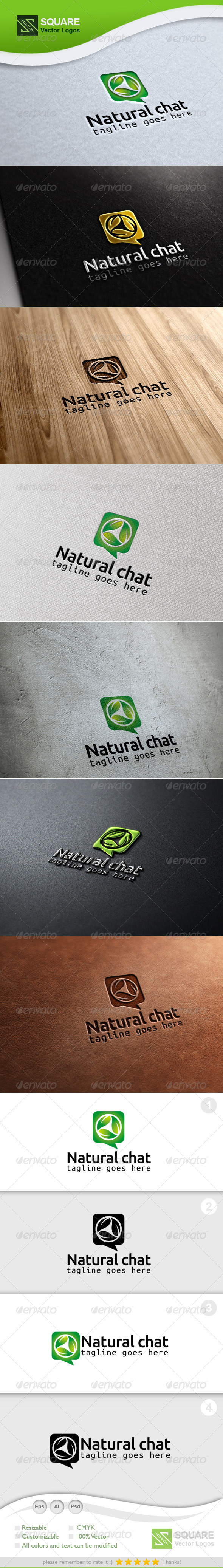 Leafs, Chat Vector Logo Template - Nature Logo Templates