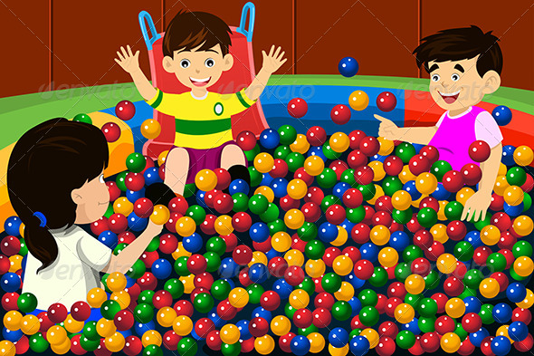 Kids Playing in Ball Pool - People Characters