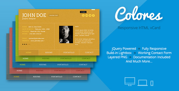 Colores – Responsive HTML5 vCard