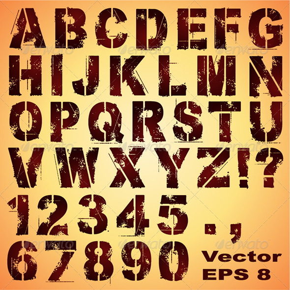 Stencil Letters and Numbers - Miscellaneous Vectors
