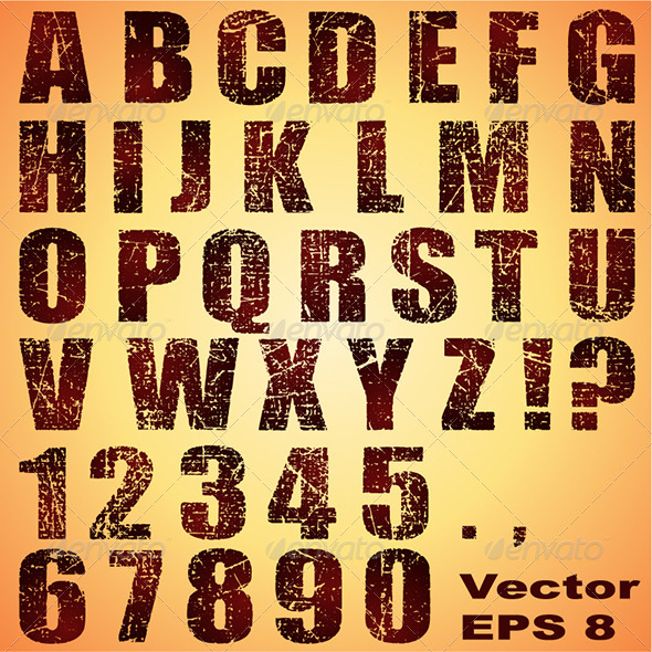 Grunge Letters and Numbers - Miscellaneous Vectors