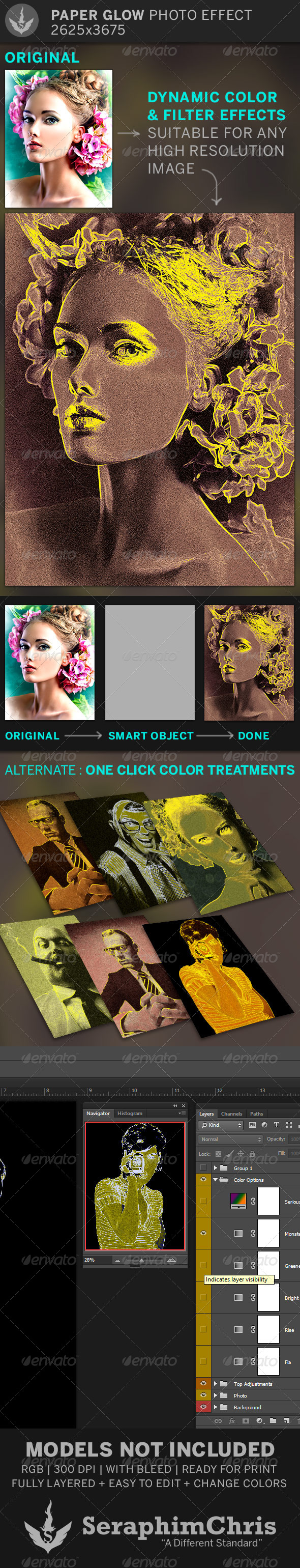 Paper Glow Photo Effect Template - Artistic Photo Templates