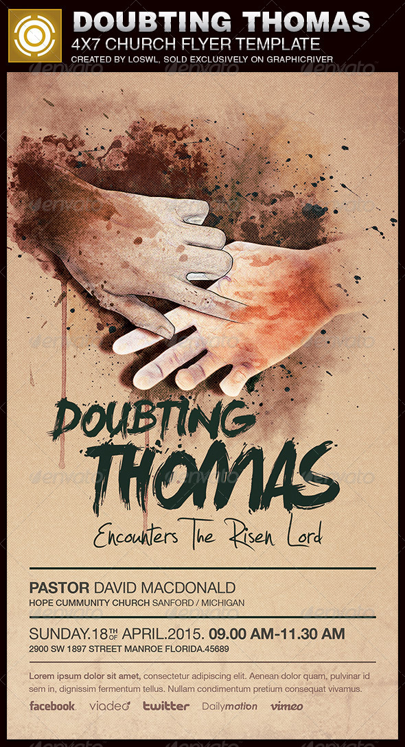 Doubting Thomas Church Flyer Template - Church Flyers