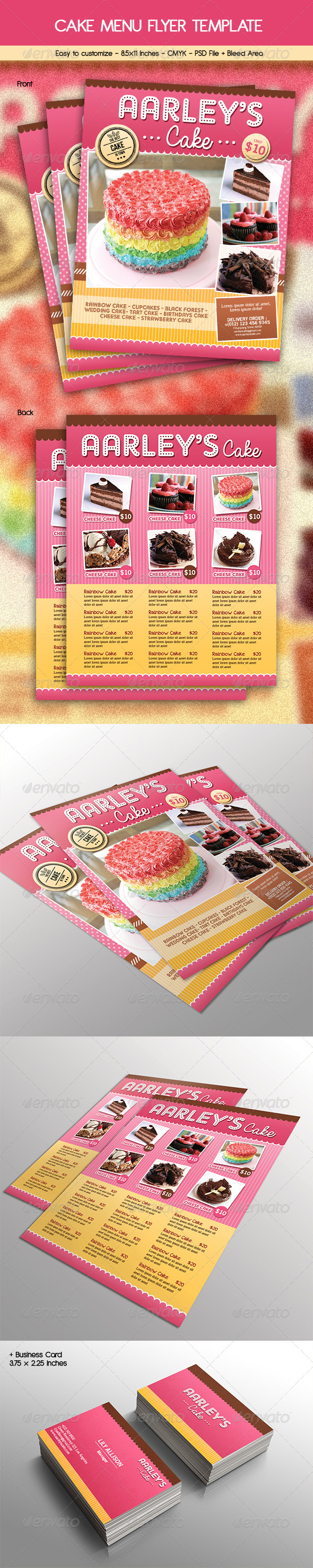Cake Menu Flyer + Business Card - Restaurant Flyers