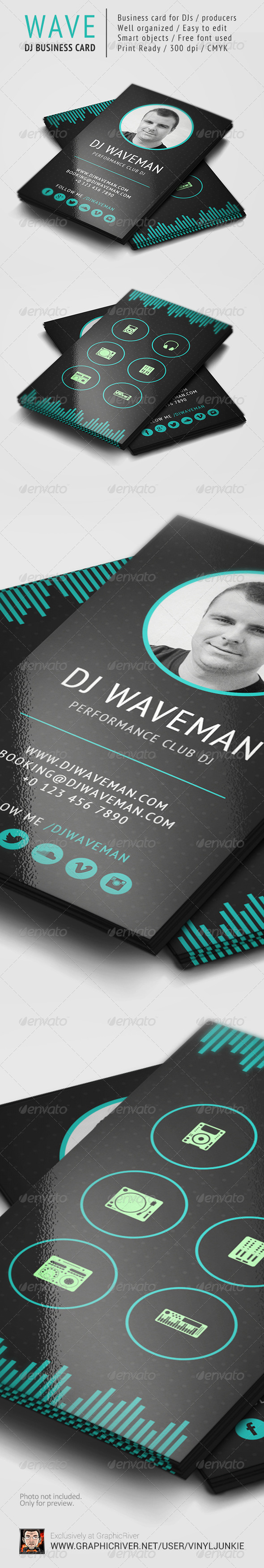 WAVE - DJ Business Card Template