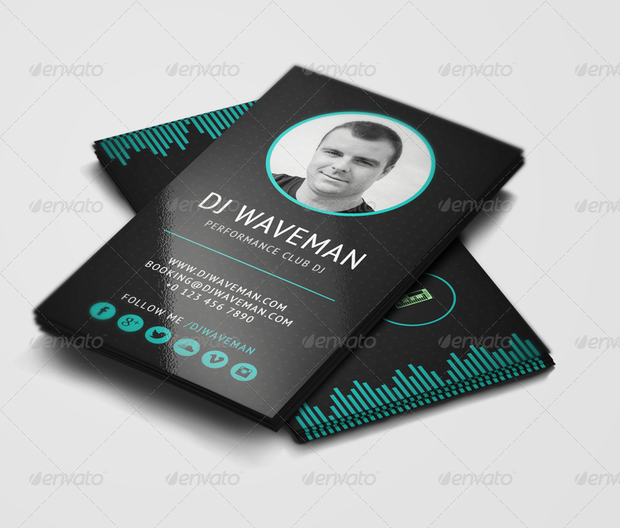 WAVE DJ Business Card Template By Vinyljunkie GraphicRiver - Dj business card template