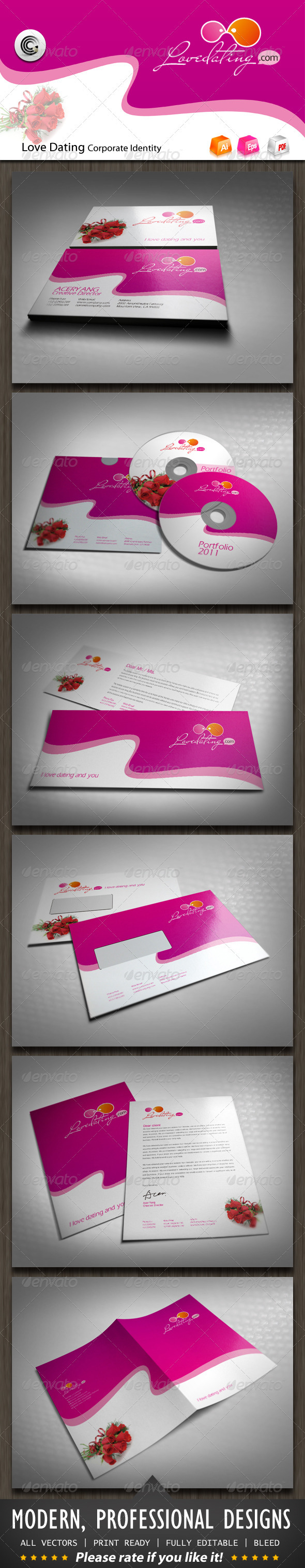 Love Dating Corporate Identity - Stationery Print Templates