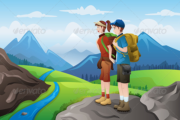 Backpackers on Top Mountains - Sports/Activity Conceptual