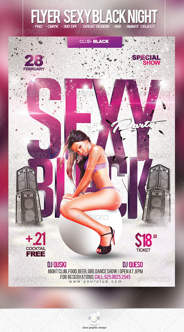 Flyer Sexy Black Night - Clubs & Parties Events