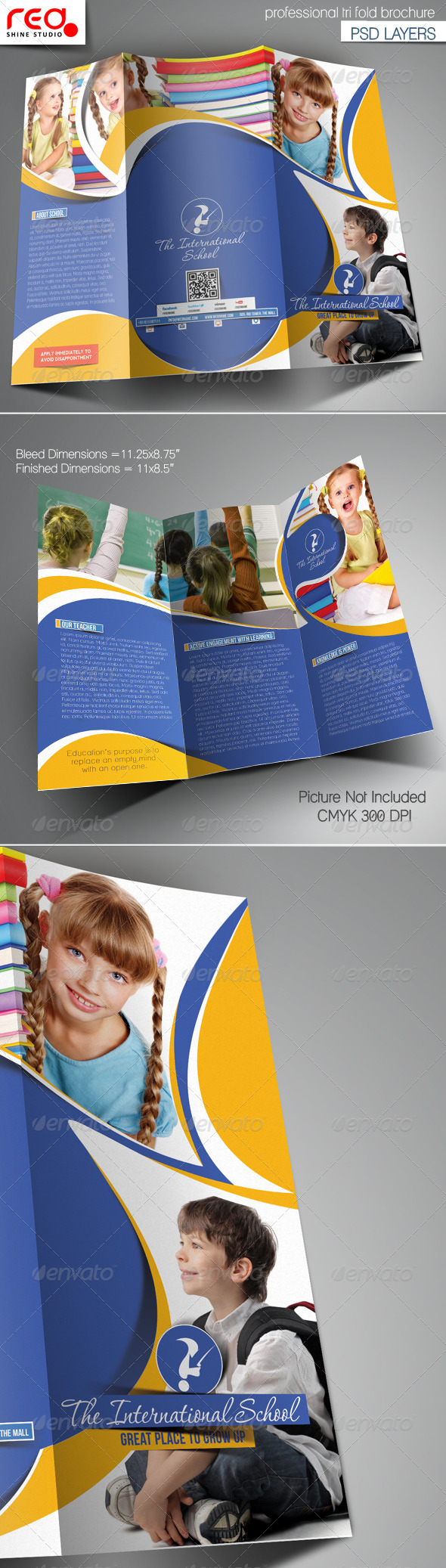 Junior School Promotion Trifold Brochure Template - Corporate Brochures