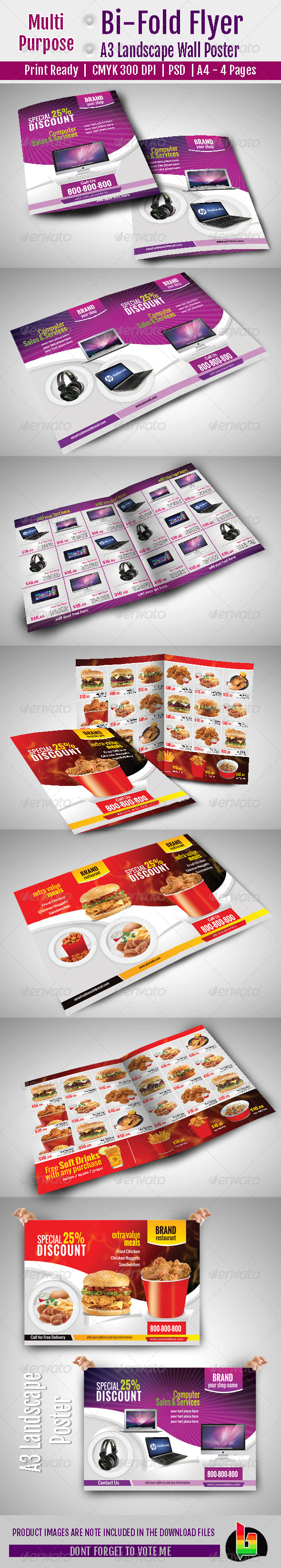 Multi Purpose Bi-Fold Flyer & A3 Poster - Flyers Print Templates