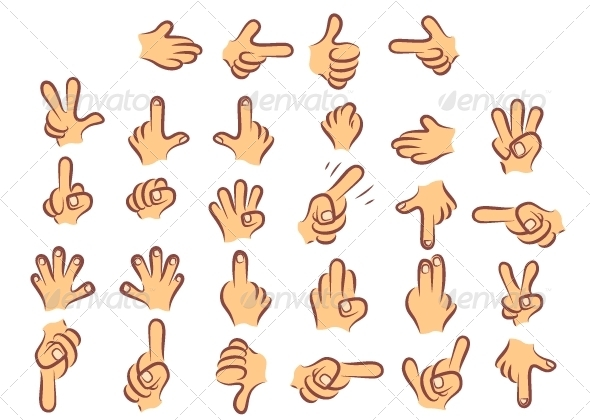 Cartoony Colored Hands - Characters Vectors