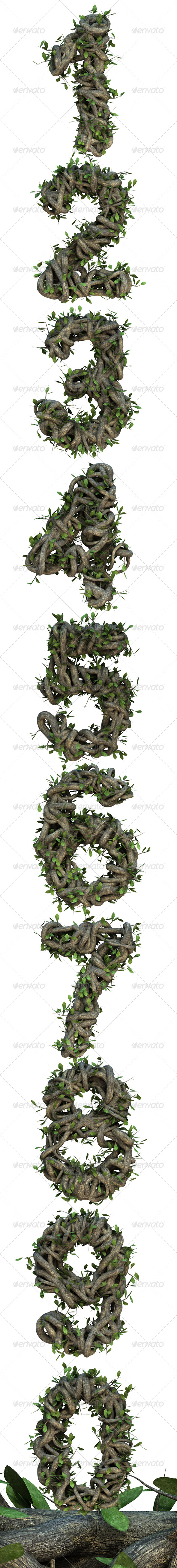 Ivy Numbers - Text 3D Renders