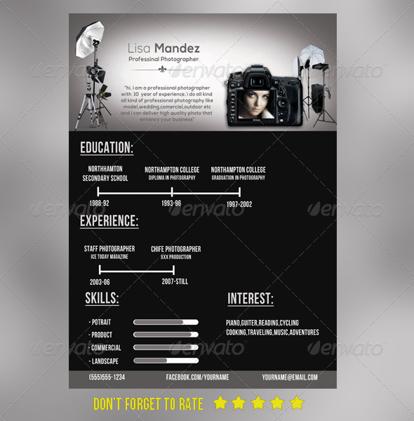 simple photographer resume by joy graphicriver photographer resume
