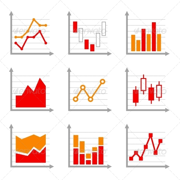 Business Infographic Colorful Charts and Diagrams  - Concepts Business