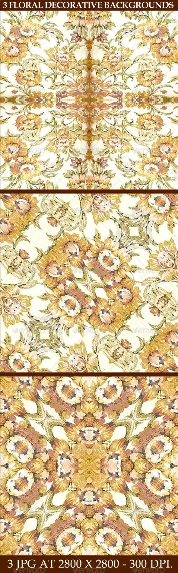 3 Floral Decorative Background Patterns - Flourishes / Swirls Decorative