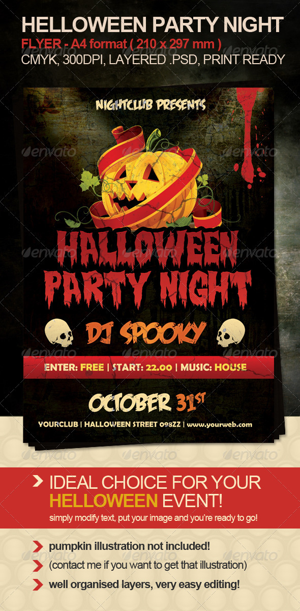 Halloween Party Night Flyer - Clubs & Parties Events