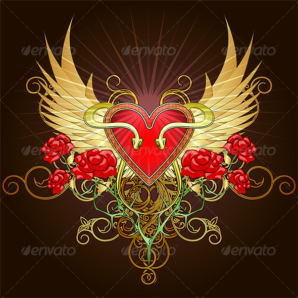 The heart with snakes - Decorative Vectors