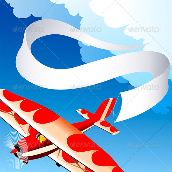 Plane with Banner - Conceptual Vectors