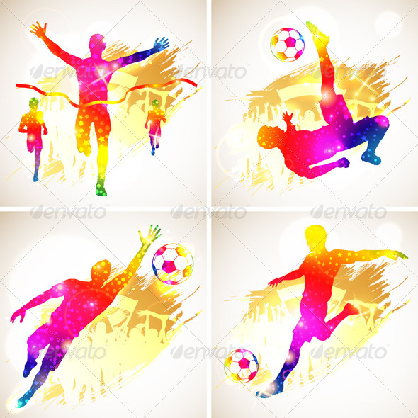 Soccer and Winner Silhouette - Sports/Activity Conceptual