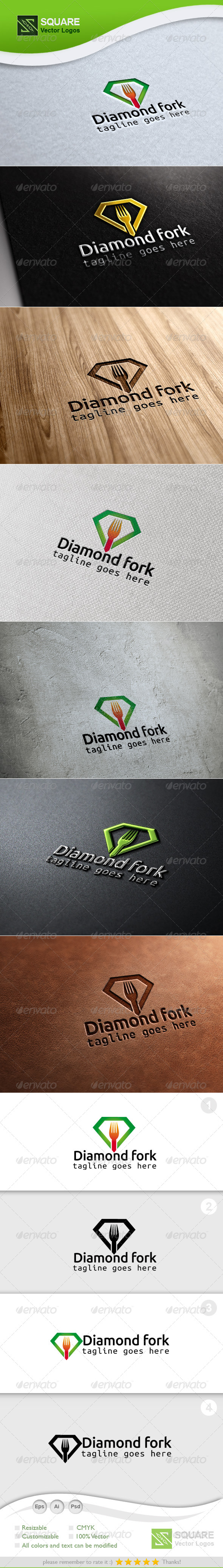 Diamond, Fork Vector Logo Template - Food Logo Templates