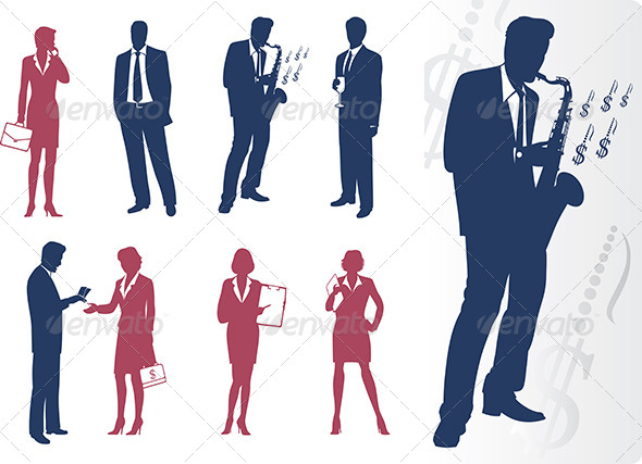 Businessmen and Businesswomen Silhouettes - People Characters