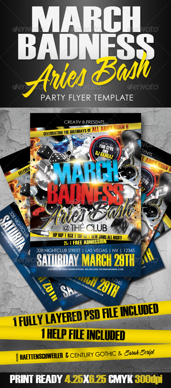 March Badness Aries Bash Flyer Template - Clubs & Parties Events