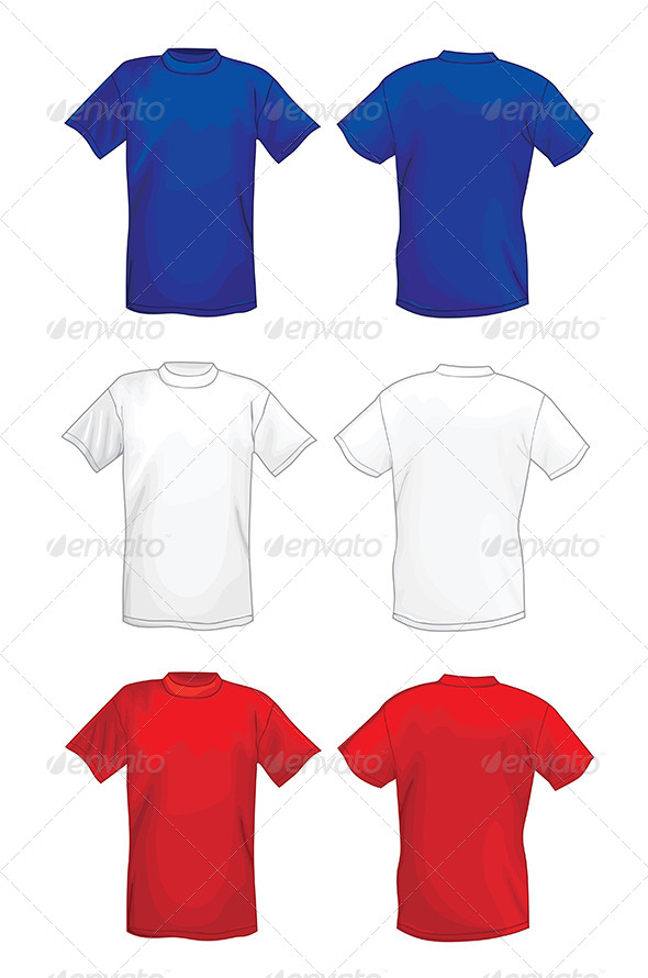 Colored T-shirt Design Template Front & Back - Man-made Objects Objects