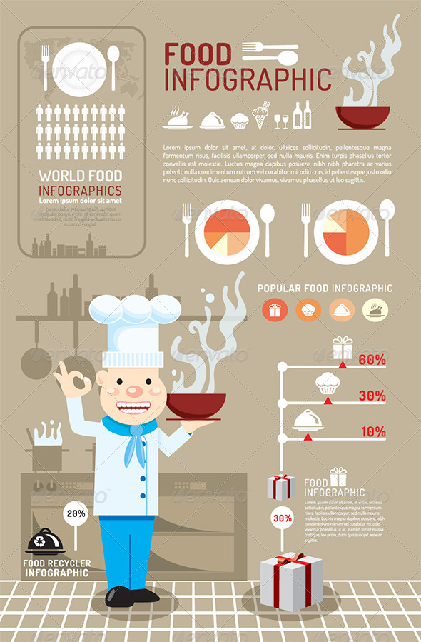 Infographic Food Concept Vector Illustration - Infographics