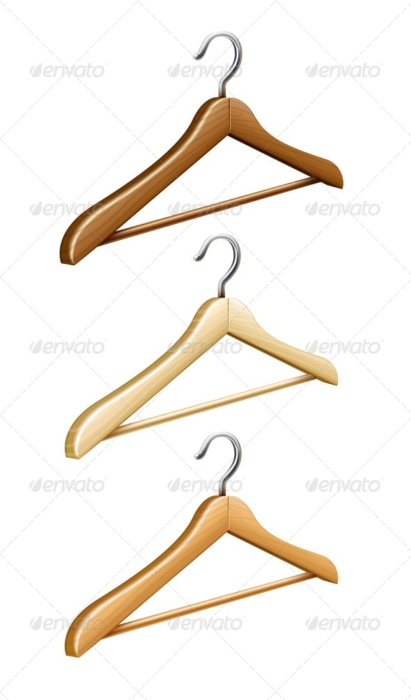 Set of Wooden Coat Hangers for Wardrobe Clothes - Man-made Objects Objects