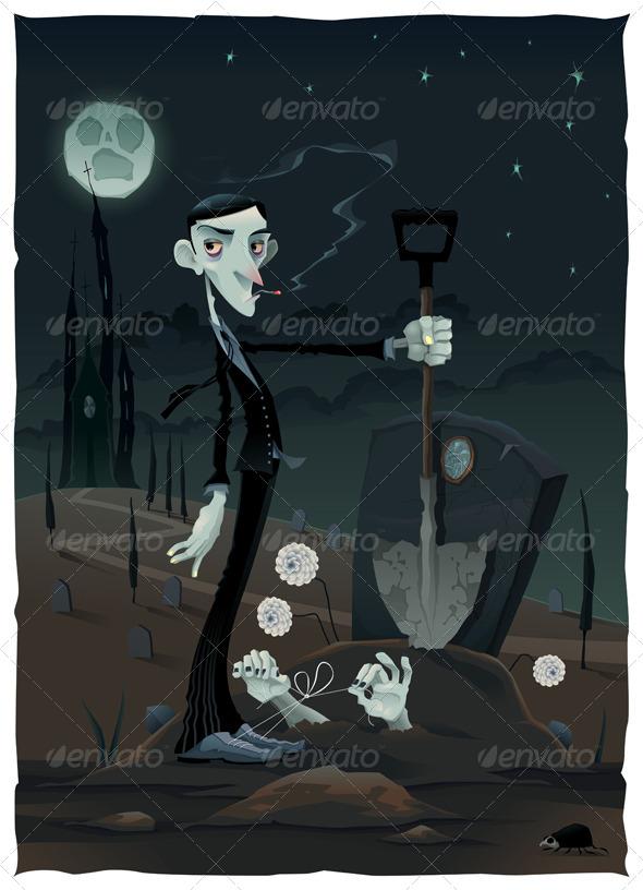 Scene in the Cemetery - Halloween Seasons/Holidays