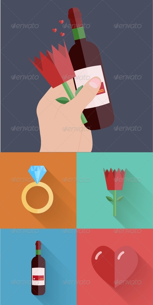 Flat Modern Love Backgrounds - Valentines Seasons/Holidays