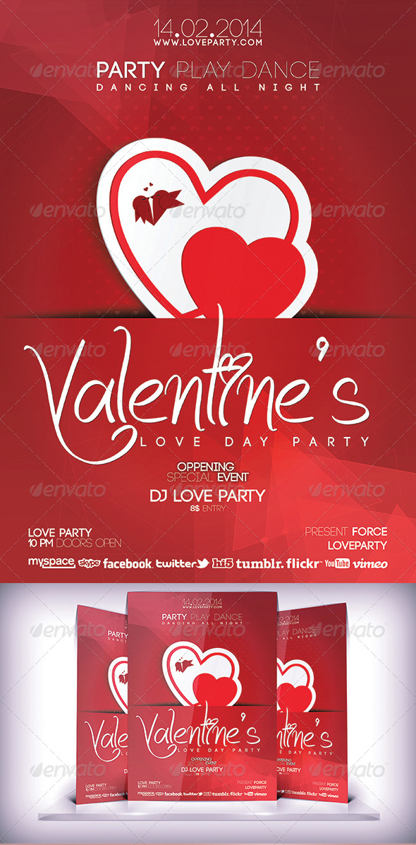 Valentines Love Party  Flyer - Flyers Print Templates