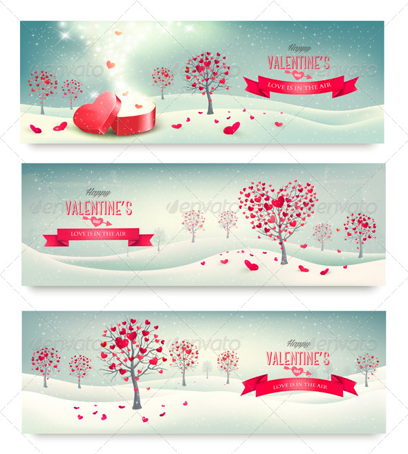 Valentine Trees with Heart-Shaped Leaves - Valentines Seasons/Holidays