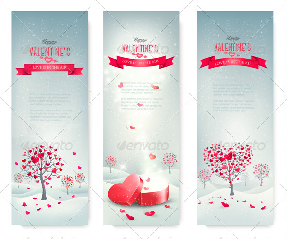 Holiday Valentine Retro Banners - Valentines Seasons/Holidays