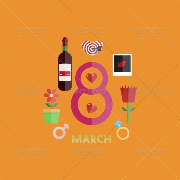 Vector Flat Modern 8 March Backgrounds. EPS10 - Miscellaneous Seasons/Holidays