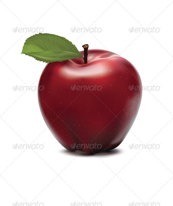 Apple Red with Green Leaf - Food Objects