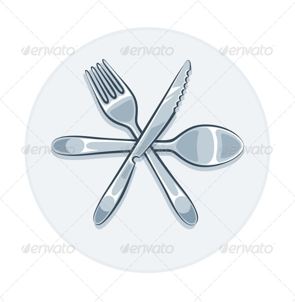Kitchen Utensils Fork Knife And Spoon - Miscellaneous Vectors