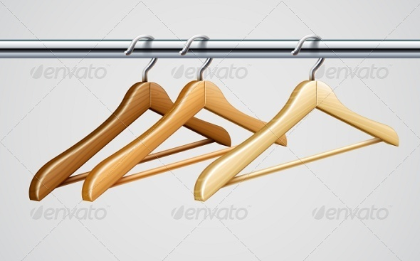 Wardrobe Tube with Wooden Coat Hangers For Clothes - Man-made Objects Objects