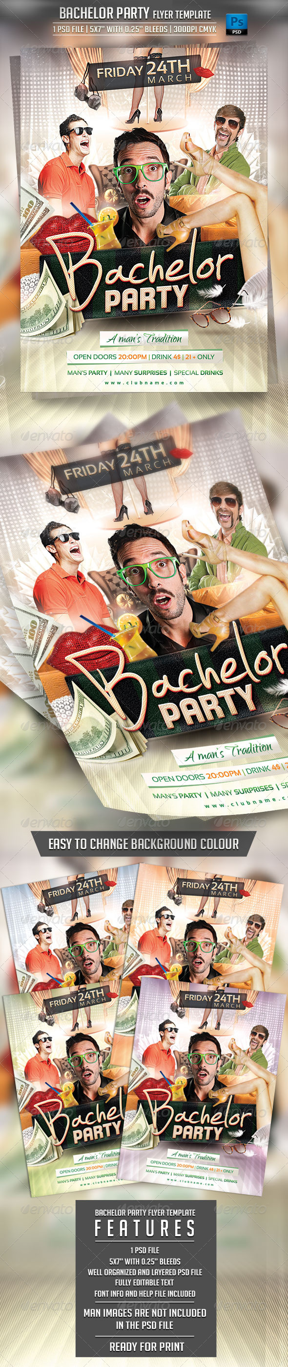 Bachelor Party Flyer Template - Clubs & Parties Events