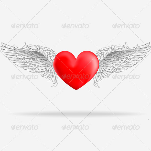 Realistic Heart with White Wings - Valentines Seasons/Holidays