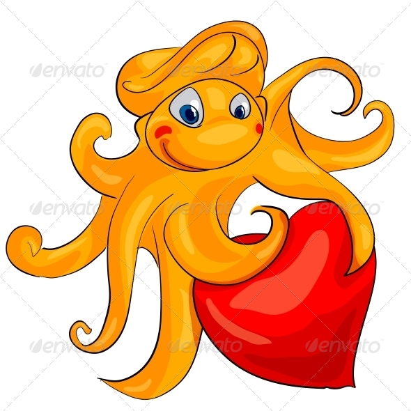 Octopus with Heart - Valentines Seasons/Holidays