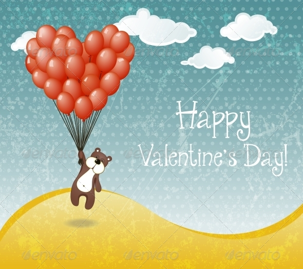 Valentines Day Card with Flying Teddy Bear - Valentines Seasons/Holidays